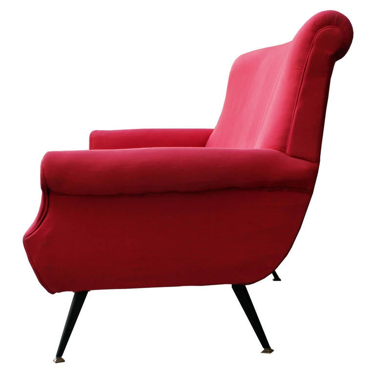 Modern Curved Red Italian Sofa With Metal Legs And Brass For Sale At 1stdibs