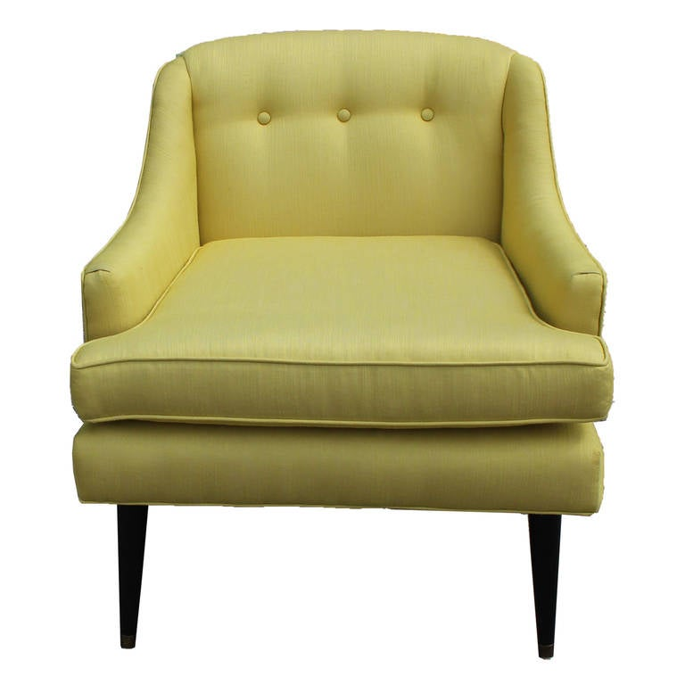Bold Restored Accent Chair With Black Splayed Legs At 1stdibs
