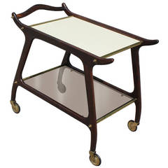 Sculptural Italian Bar Cart with Brass Accents