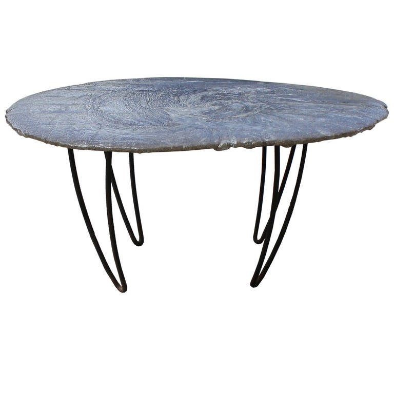 Interesting poured resin table on hairpin legs at 1stdibs for Interesting table legs
