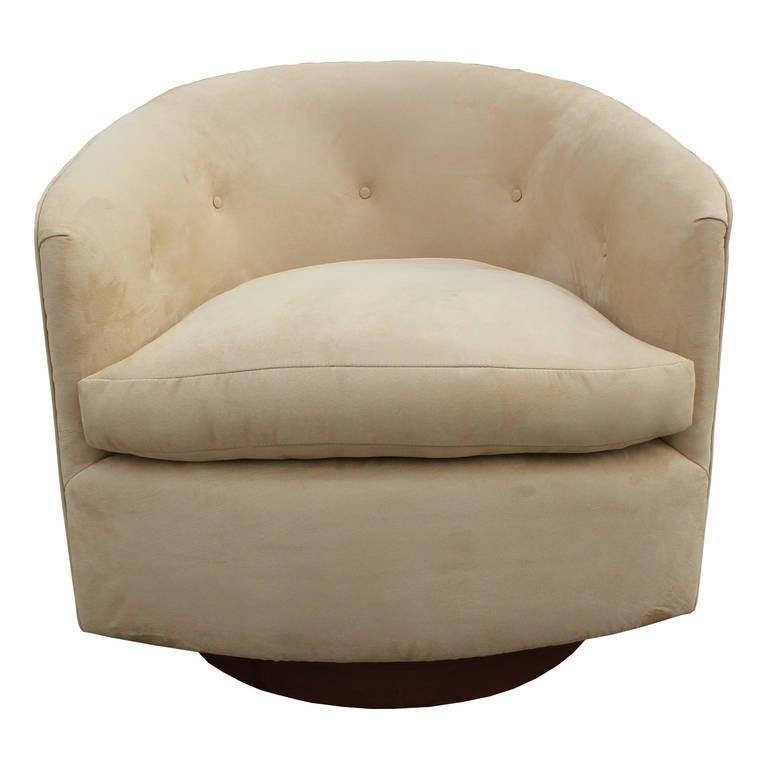 Pair of milo baughman swivel barrel back chairs at 1stdibs