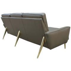 Stunning Modern Italian Style Green Leather Sofa with Brass Legs