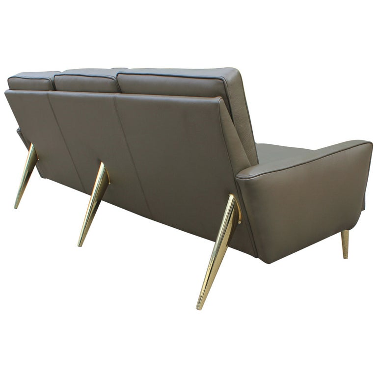 Marvelous Stunning Modern Italian Style Brass And Green Leather Sofa With Brass Legs Caraccident5 Cool Chair Designs And Ideas Caraccident5Info