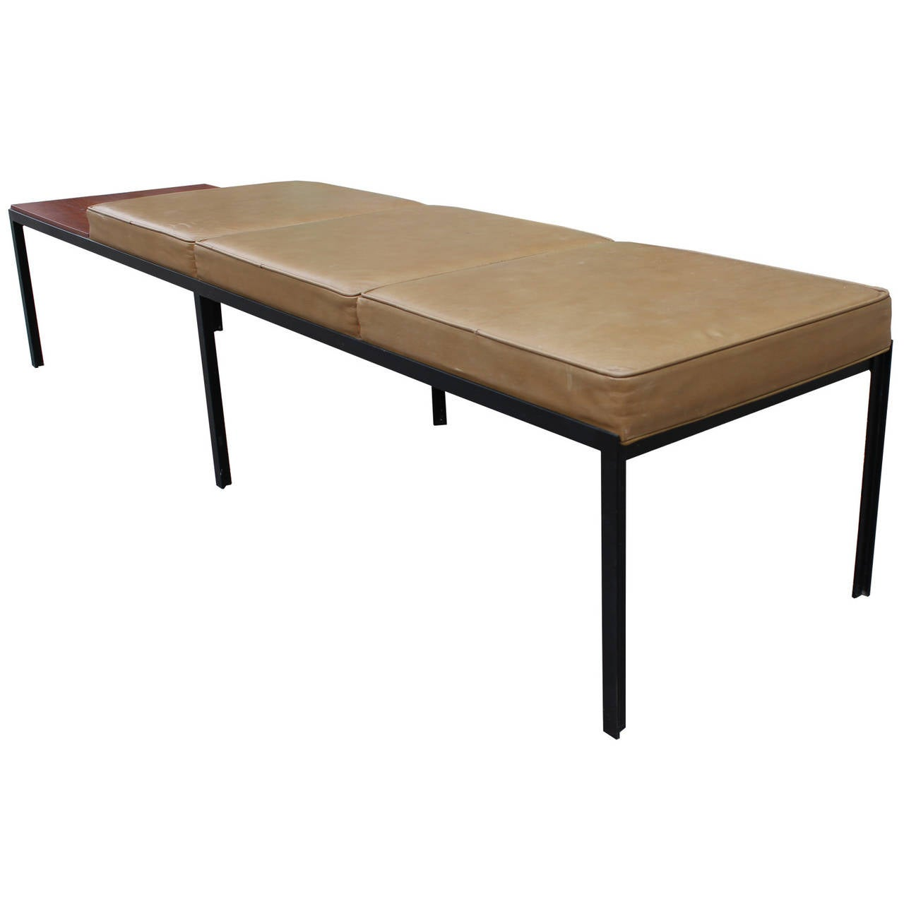 Wonderful image of Florence Knoll T Angle Leather and Walnut 3 Seat Bench at 1stdibs with #6A4C34 color and 1280x1280 pixels