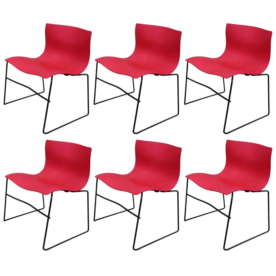 Set of 6 Red Knoll Handkerchief Chairs by Massimo Vignelli ...