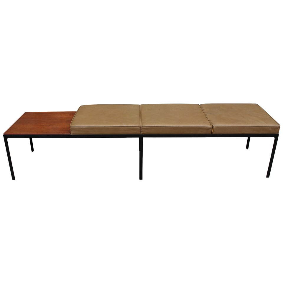 Florence Knoll T Angle Leather And Walnut 3 Seat Bench At