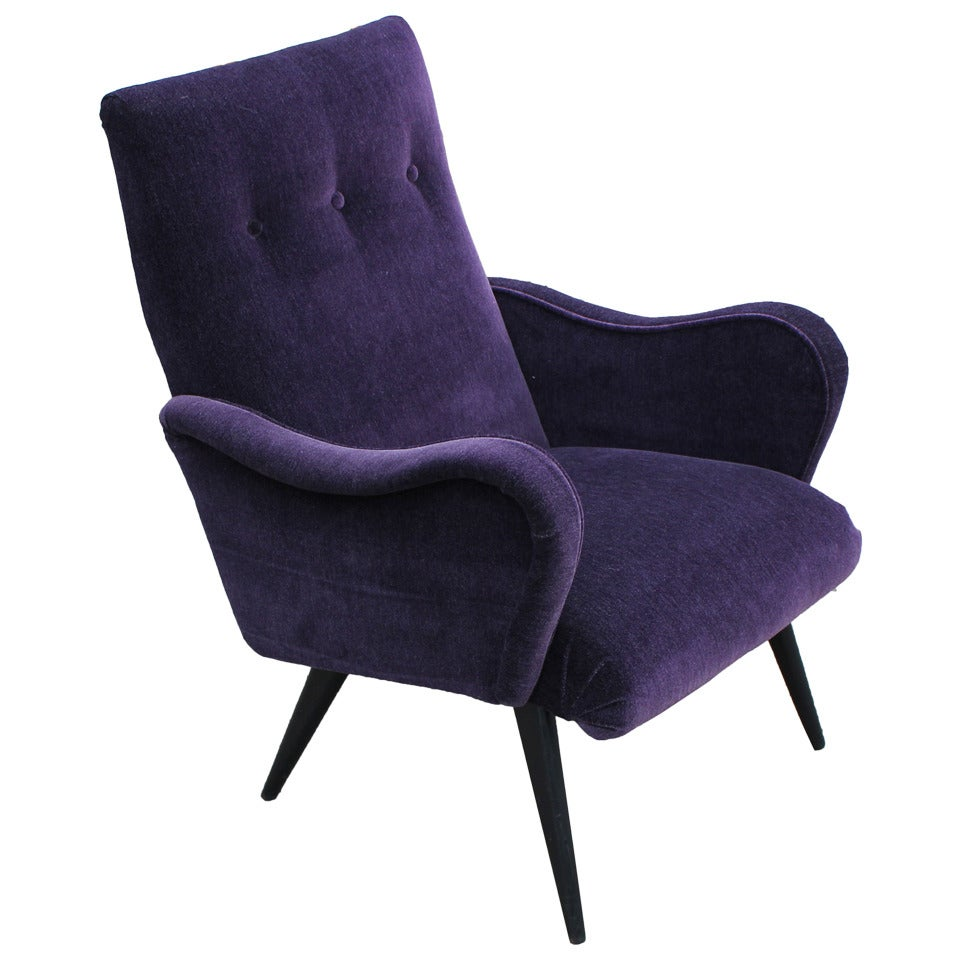 Opulent Sculptural Italian Purple Armchair at 1stdibs
