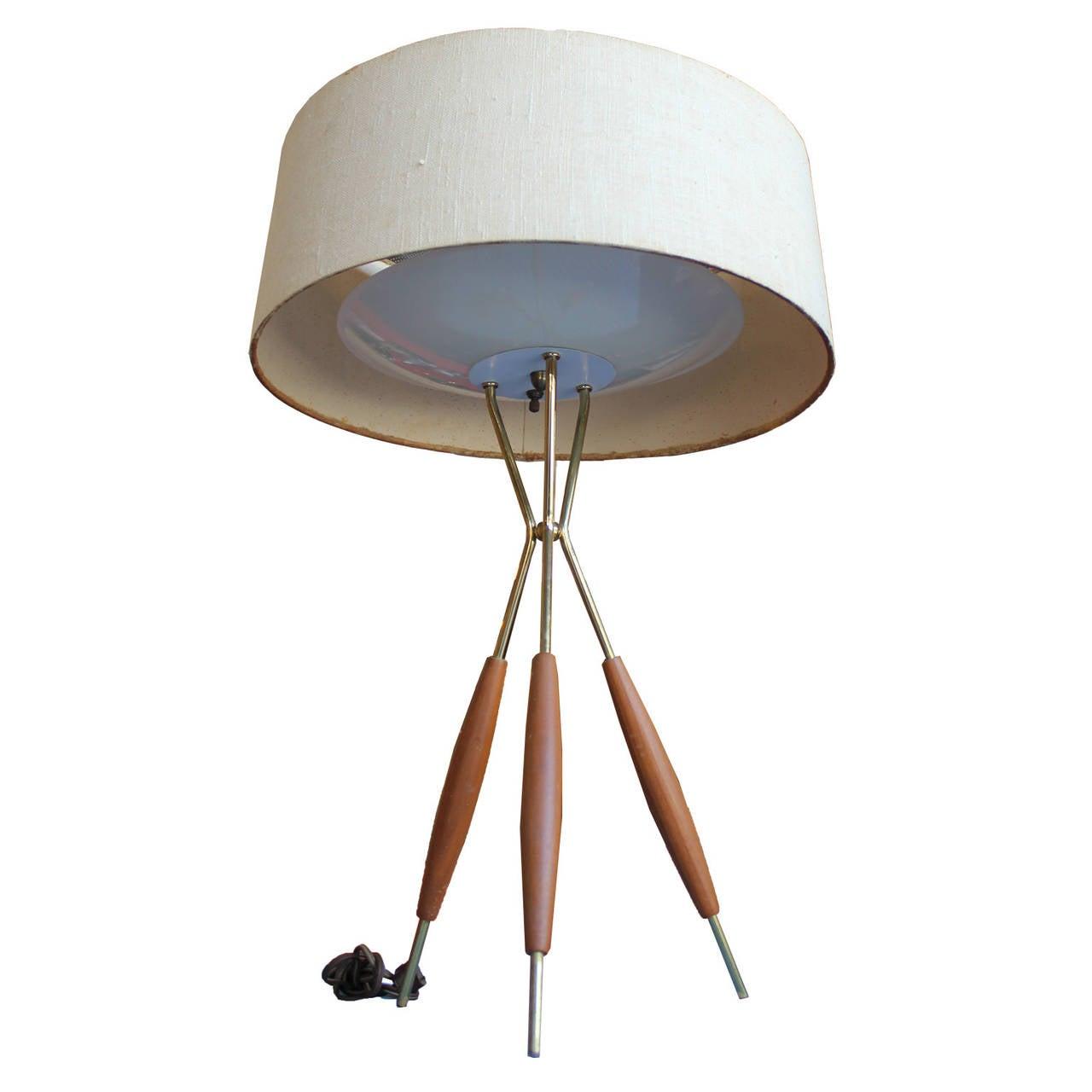 mid century modern gerald thurston tripod table lamp at