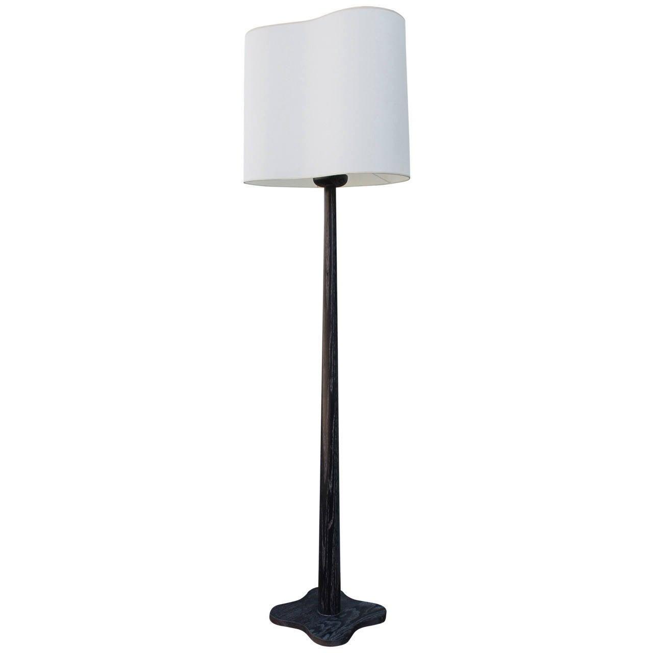 Rare 1940s Cerused Oak James Mont Floor Lamp