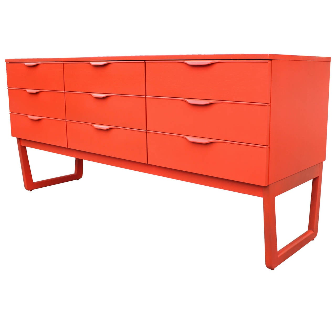 Orange lacquered 9 drawer dresser at 1stdibs for Lacquered furniture