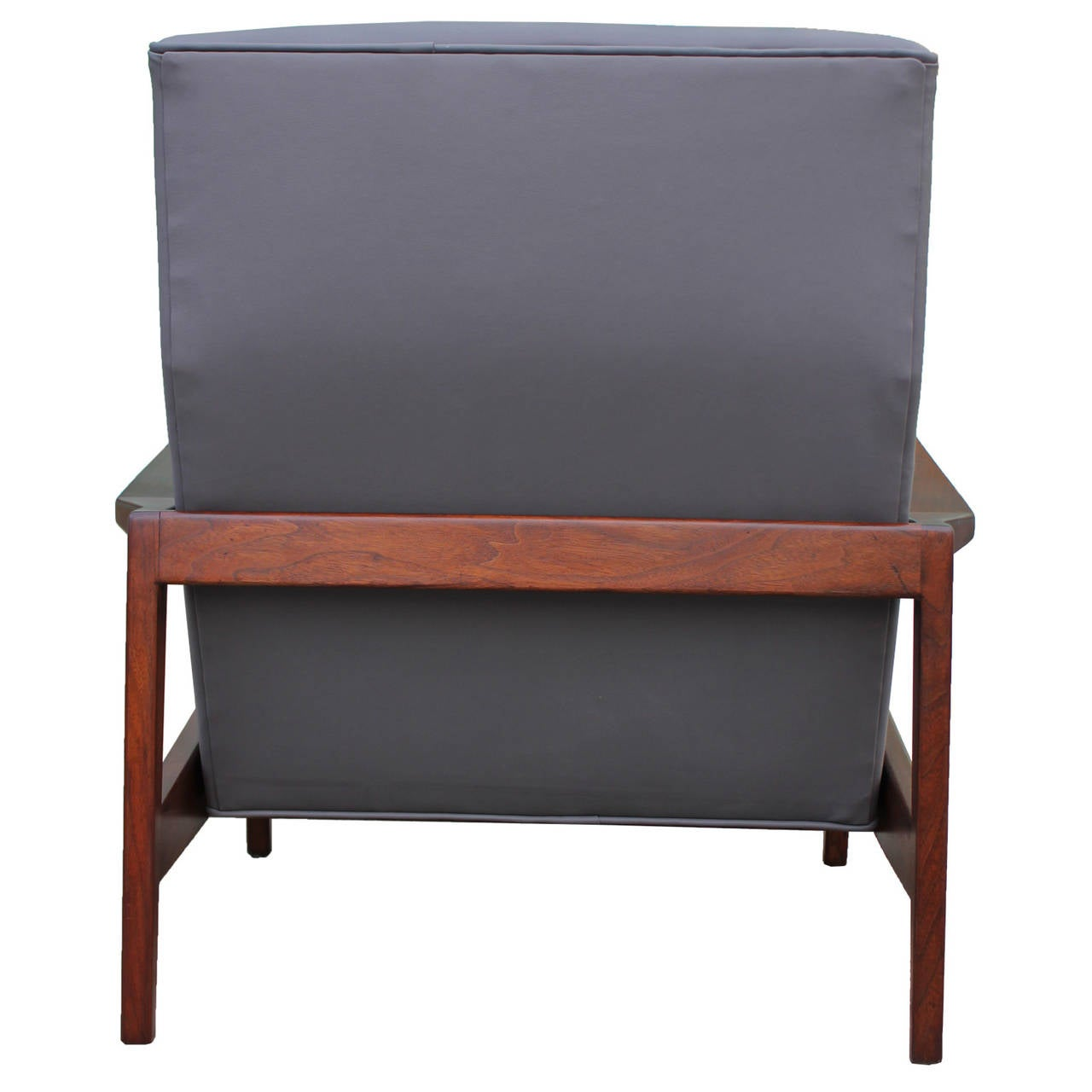 Jens Risom Grey Leather Chair and Ottoman at 1stdibs