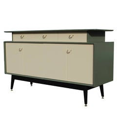 Stunning Green Color-Block Sideboard with Brass Accents