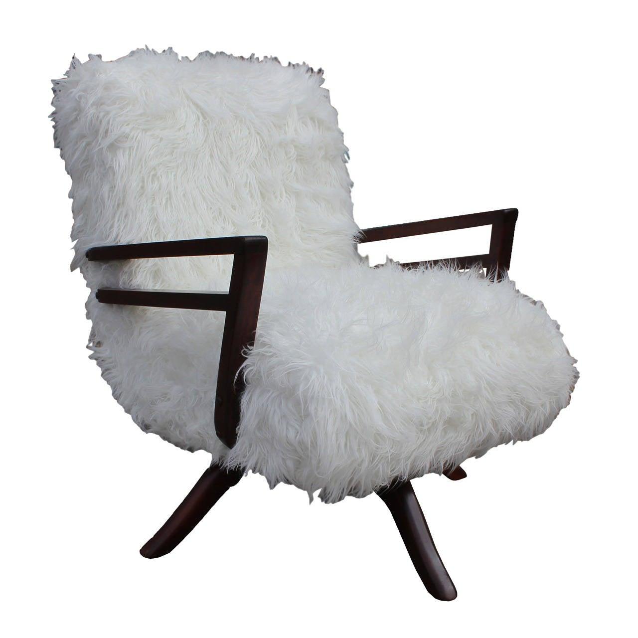Fabulous Faux Mongolian Lamb Fur Rocker At 1stdibs