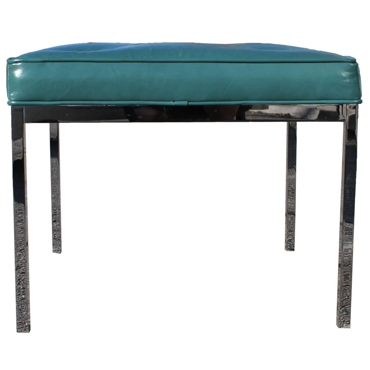 Teal Leather And Chrome Bench Ottoman At 1stdibs