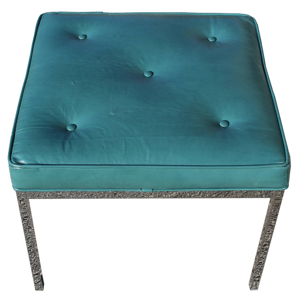 Mid Century Modern Teal Leather And Chrome Bench Ottoman For