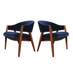 Pair of Blue Velvet Covered Side Chairs