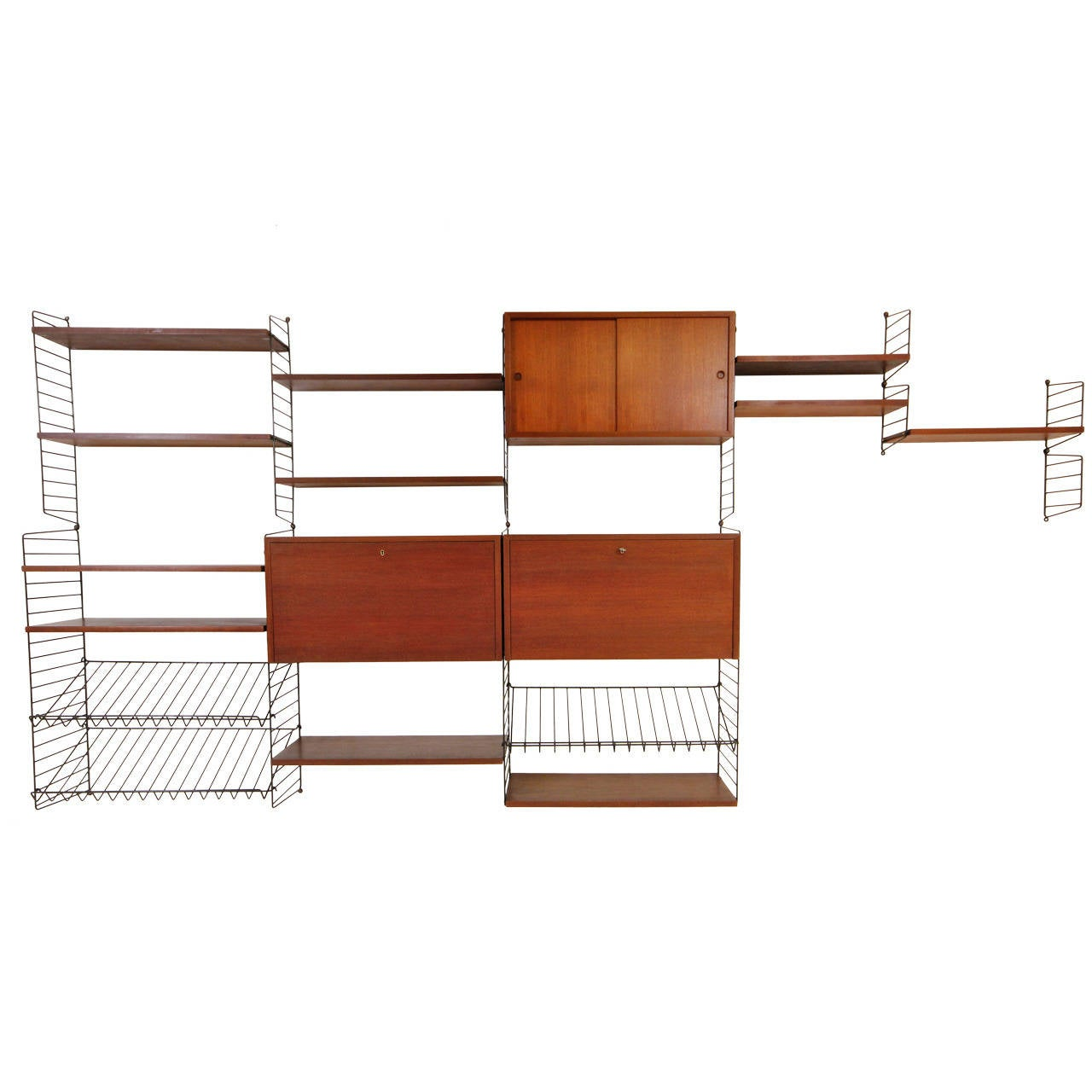 Gorgeous Teak And Brass Wall Unit With Desk And Bar