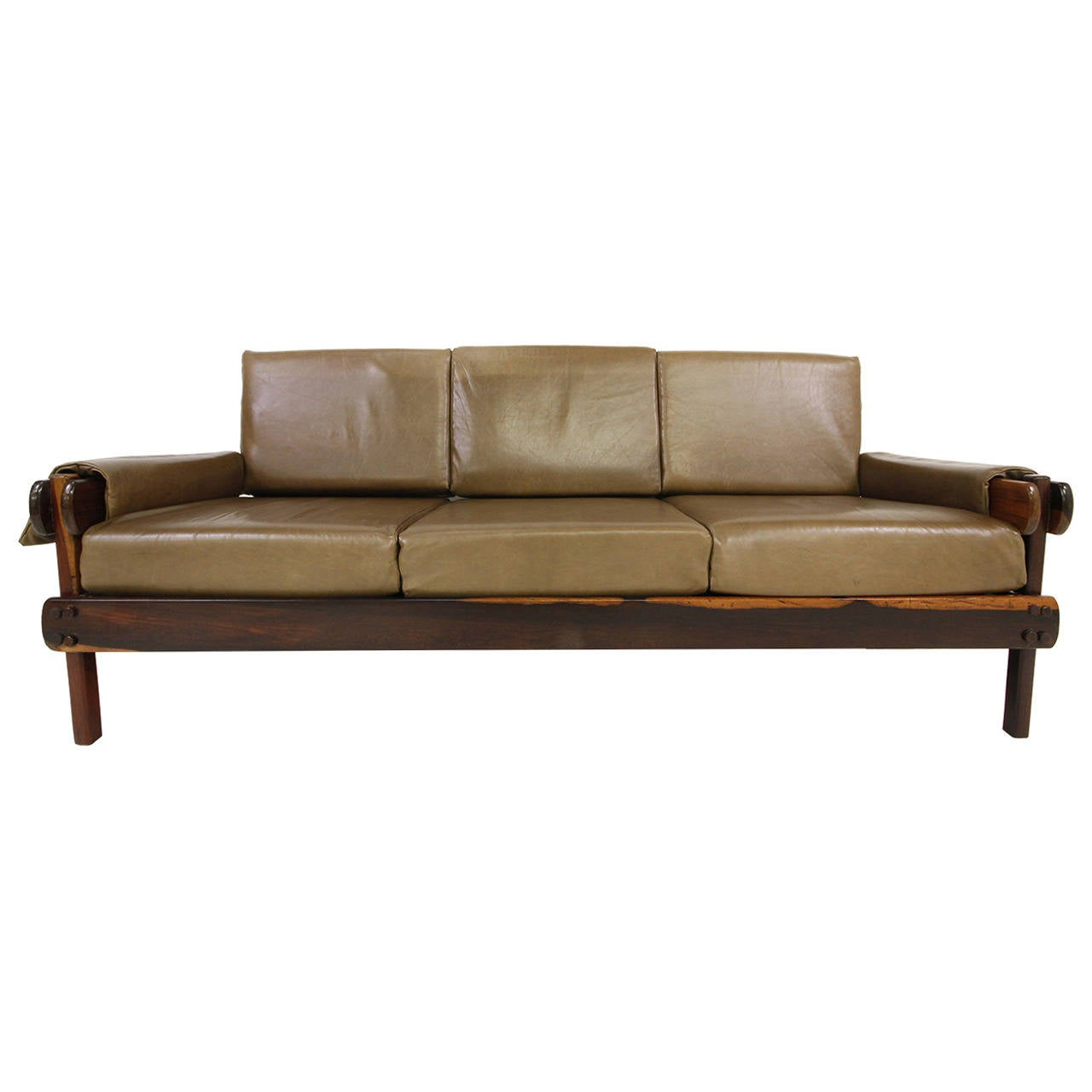 early brazilian rosewood and leather sofa in the manner of. Black Bedroom Furniture Sets. Home Design Ideas