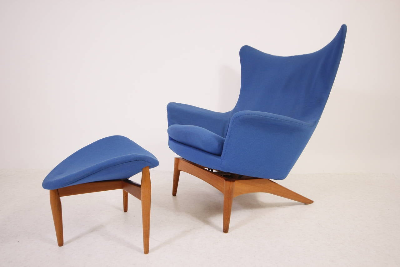 Rare Danish Modern Reclining Wingback Lounge Chair by H W