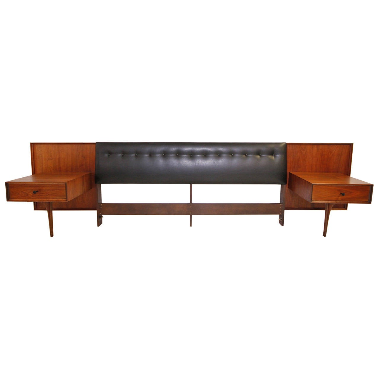 Stunning Mid-Century Modern King Headboard with Floating Nightstands at 1stdibs