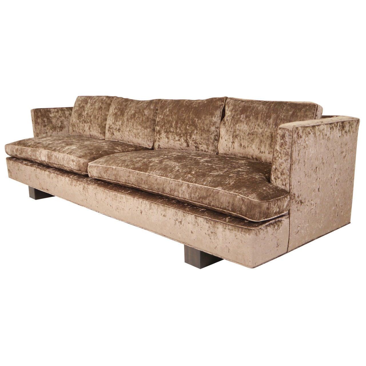 Mid Century Modern Velvet Sofa in the Manner of Edward  : 2111222l from www.1stdibs.com size 1280 x 1280 jpeg 129kB