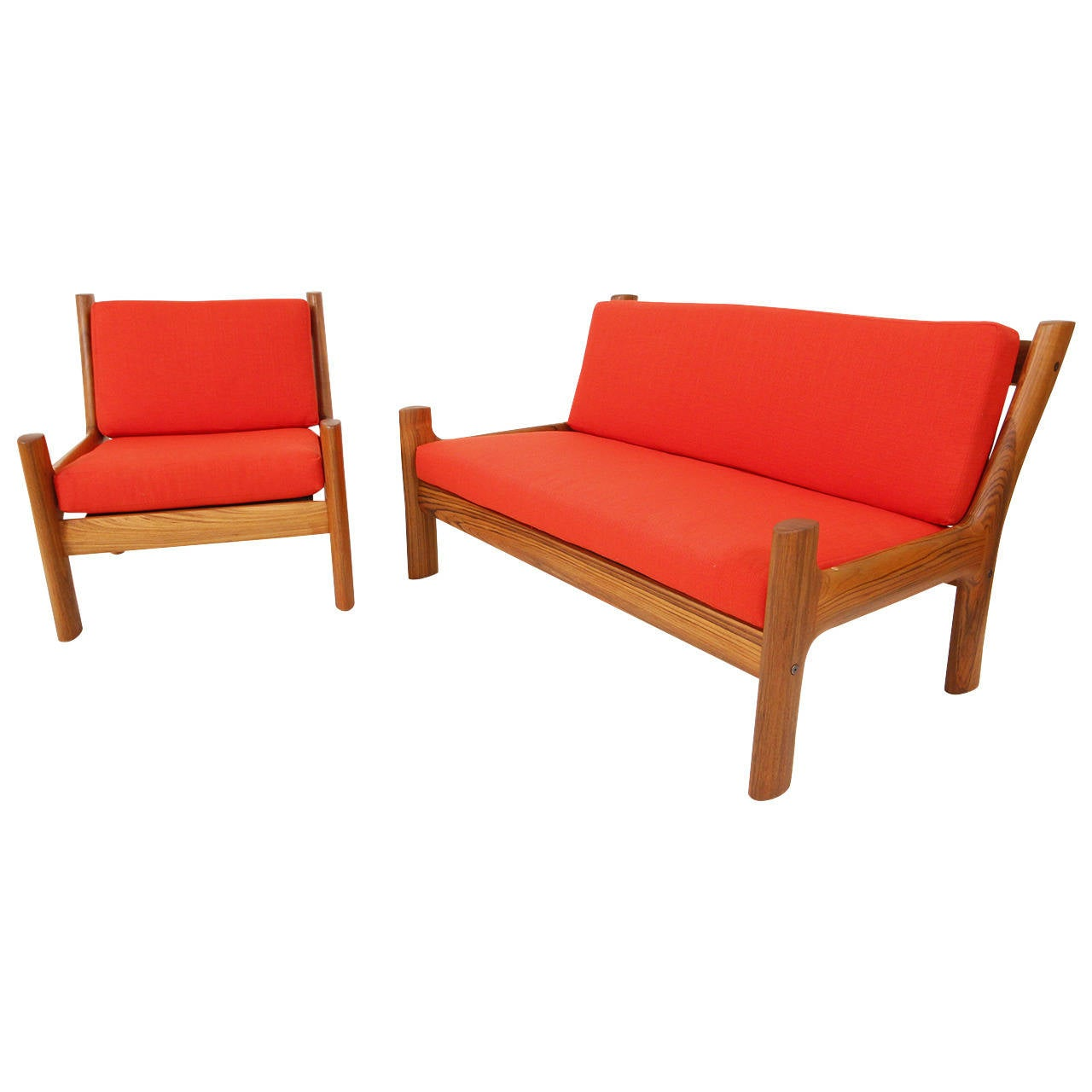 Danish Modern Teak And Brass Loveseat And Lounge Chair At 1stdibs