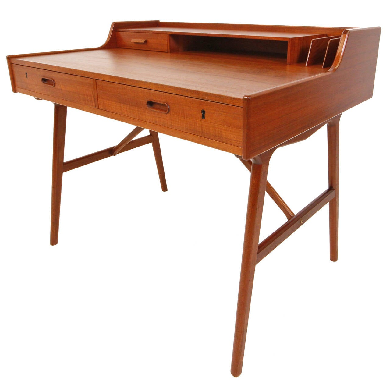 Danish Modern Teak Desk By Arne Wahl Iversen At 1stdibs