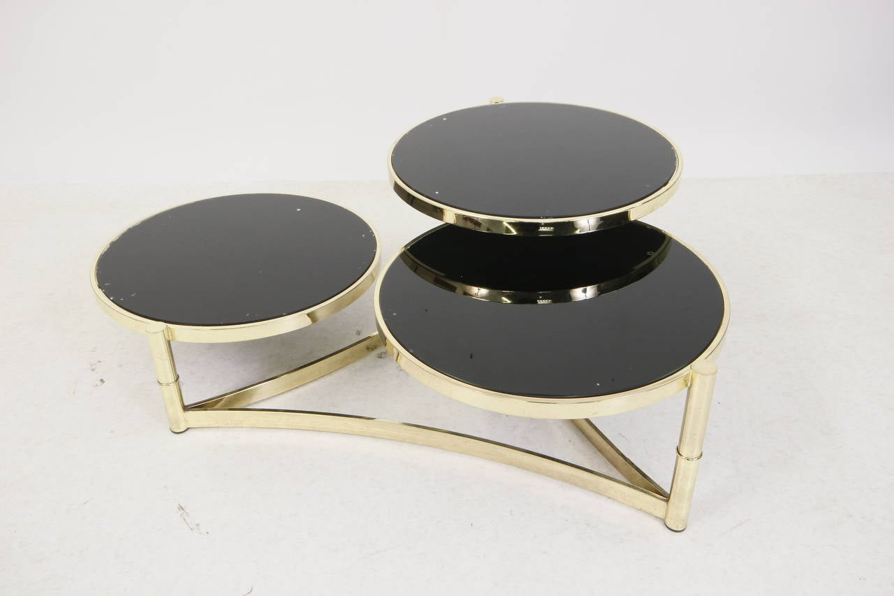 Milo Baughman Brass And Tinted Glass Swivel Table At 1stdibs