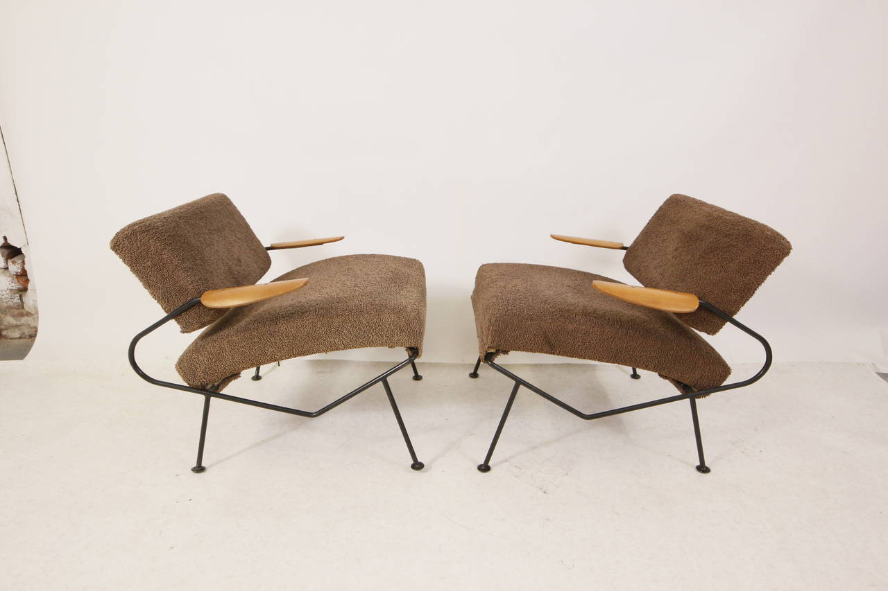 Mid Century Modern Iron Lounge Chairs by Dan Johnson at 1stdibs