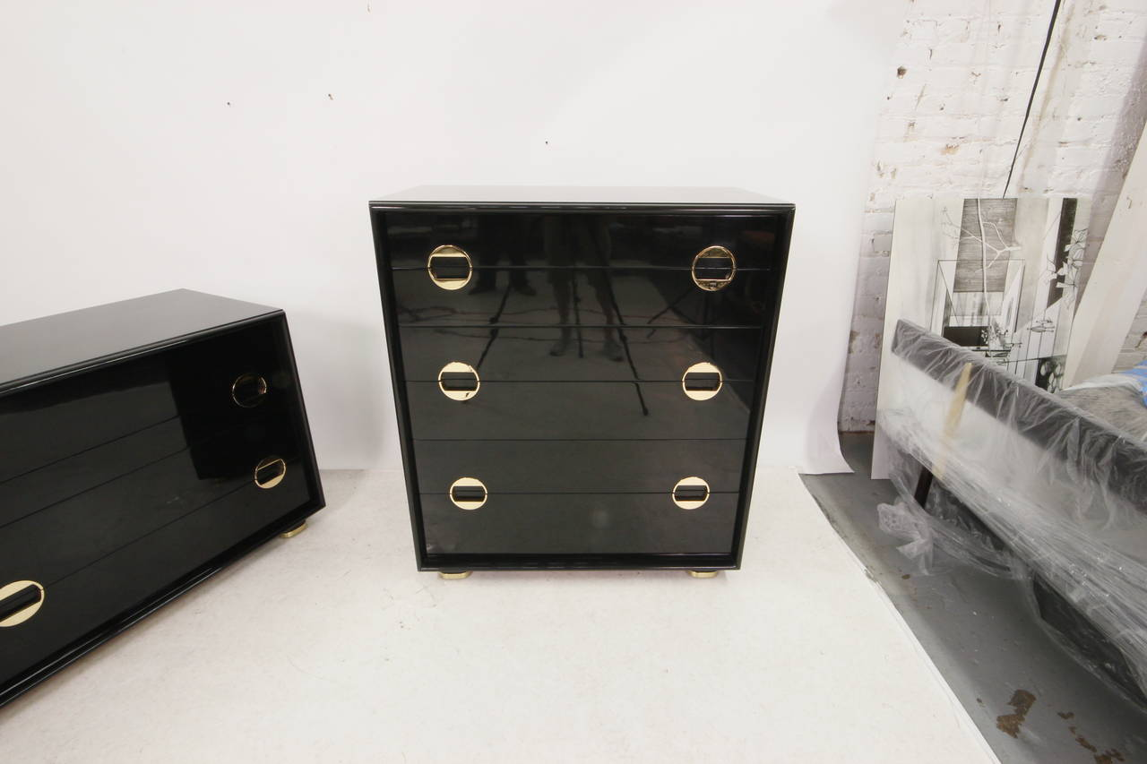 stunning mid century modern black lacquer and brass