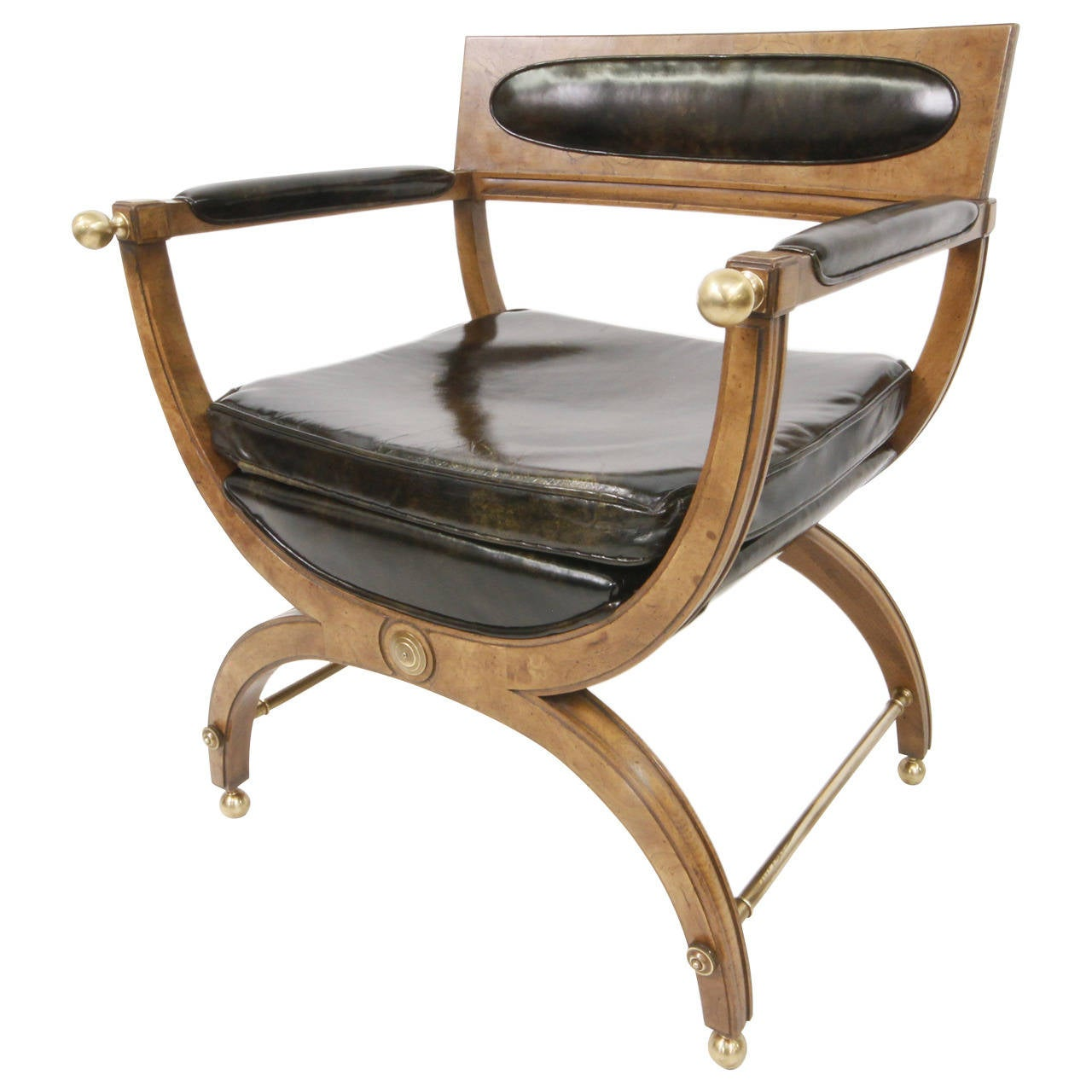 Mid Century Modern Burl Wood And Brass Empire Chair At 1stdibs