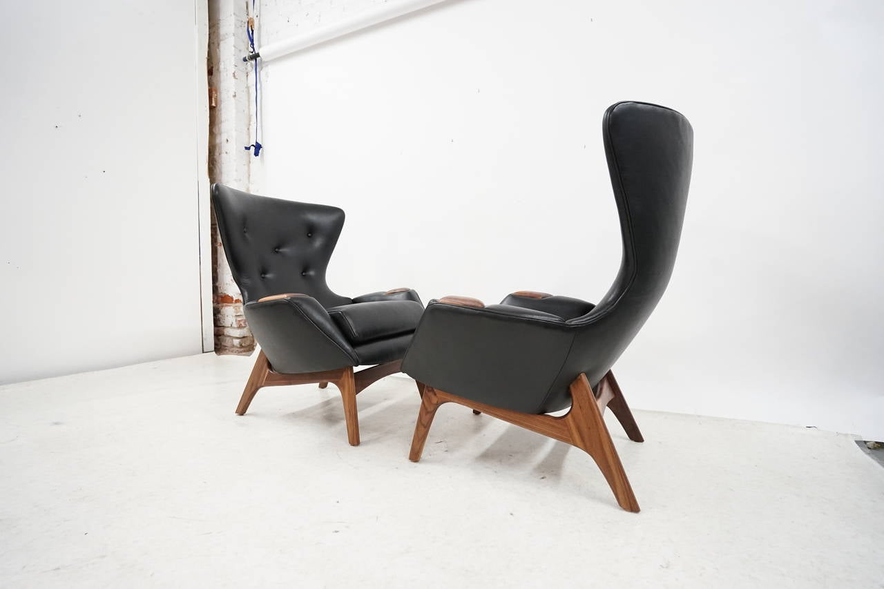 Pair of Adrian Pearsall Black Leather Wingback Lounge