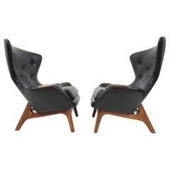 Pair of Adrian Pearsall Black Leather Wingback Lounge Chairs