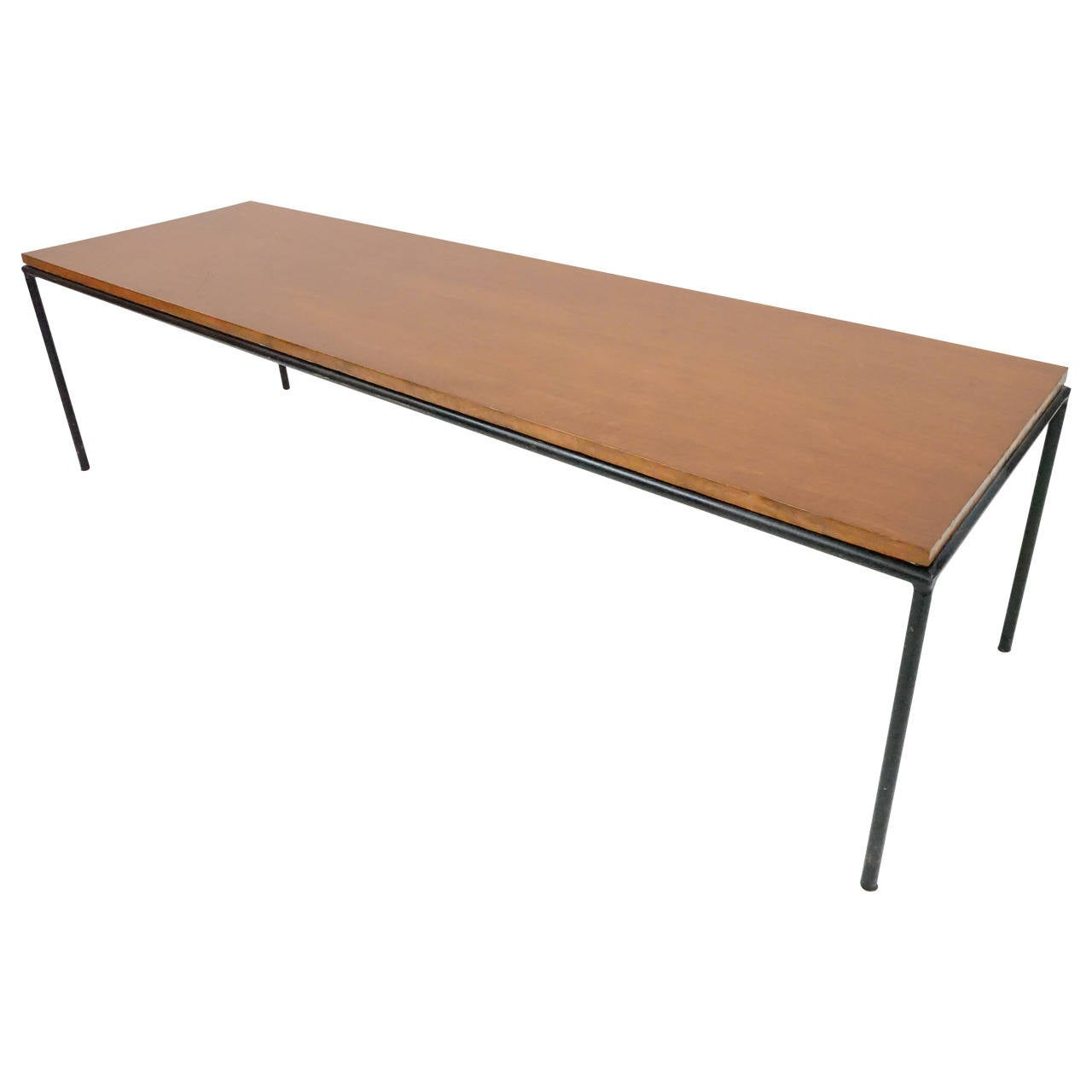 California modern iron and maple bench or coffee table by for Cocktail table with 4 benches