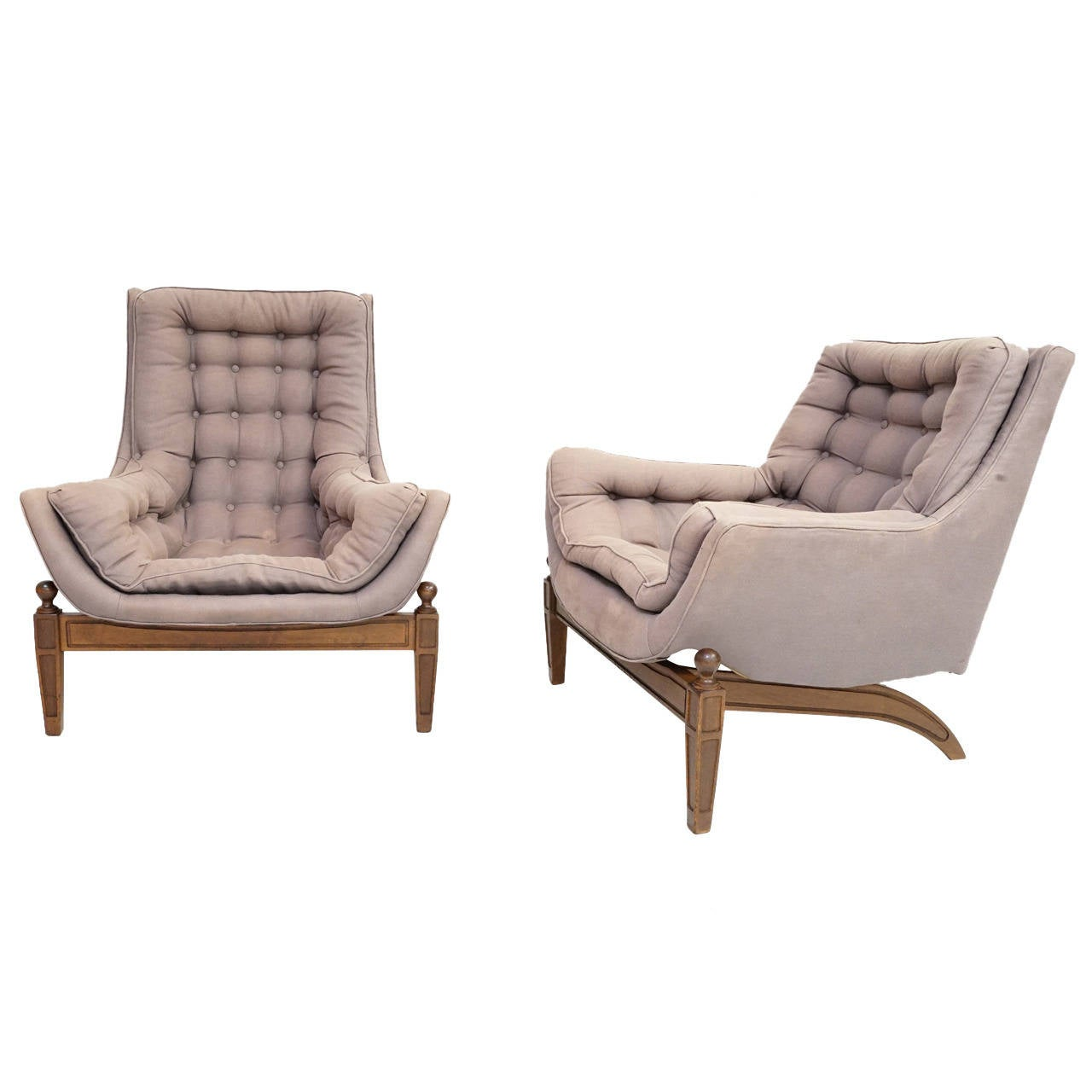 Pair Of Adrian Pearsall Tufted Lounge Chairs With Ottoman
