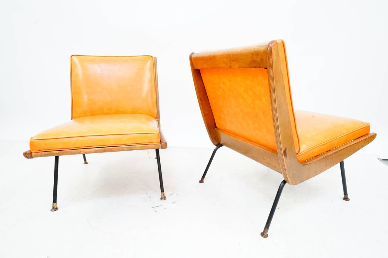 Rare Pair of California Modern Boomerang Chairs with Iron