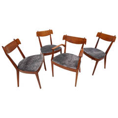 Four Kipp Stewart Sculpted Walnut and Rosewood Dining Chairs