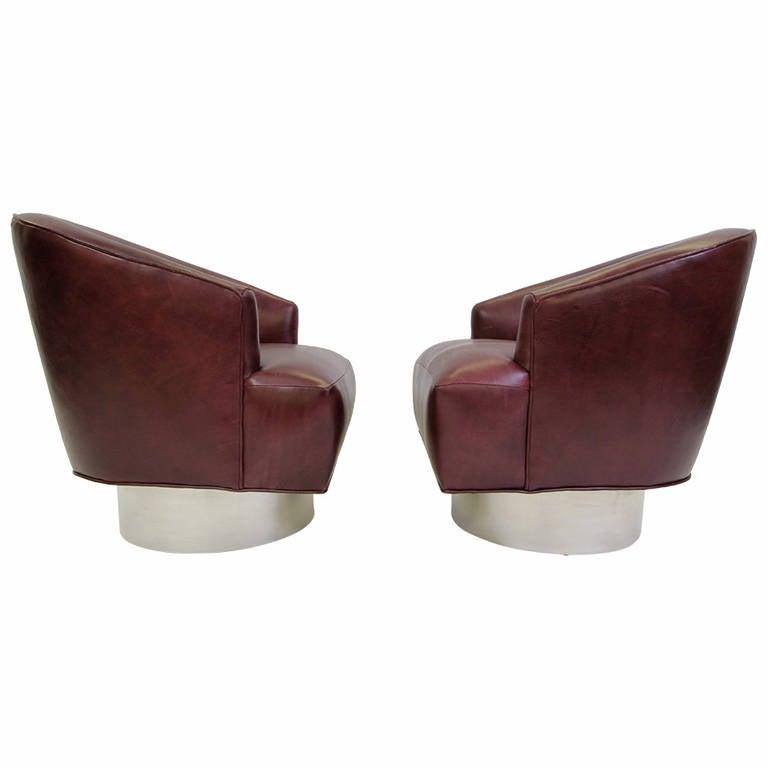 Milo baughman swivel tub chairs with italian vino leather for Leather swivel tub chair