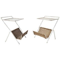 Rare Pair of Mathieu Matégot Iron and Rattan Magazine Tables