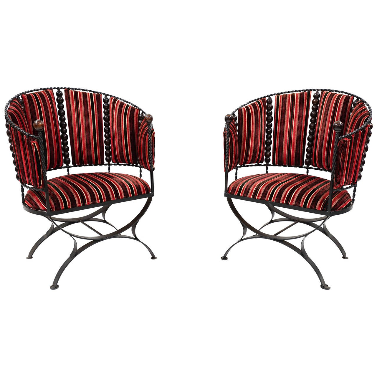 Pair of hans wegner lounge chairs at 1stdibs - Amazing Mid Century Modern Wrought Iron Barrel Back Lounge