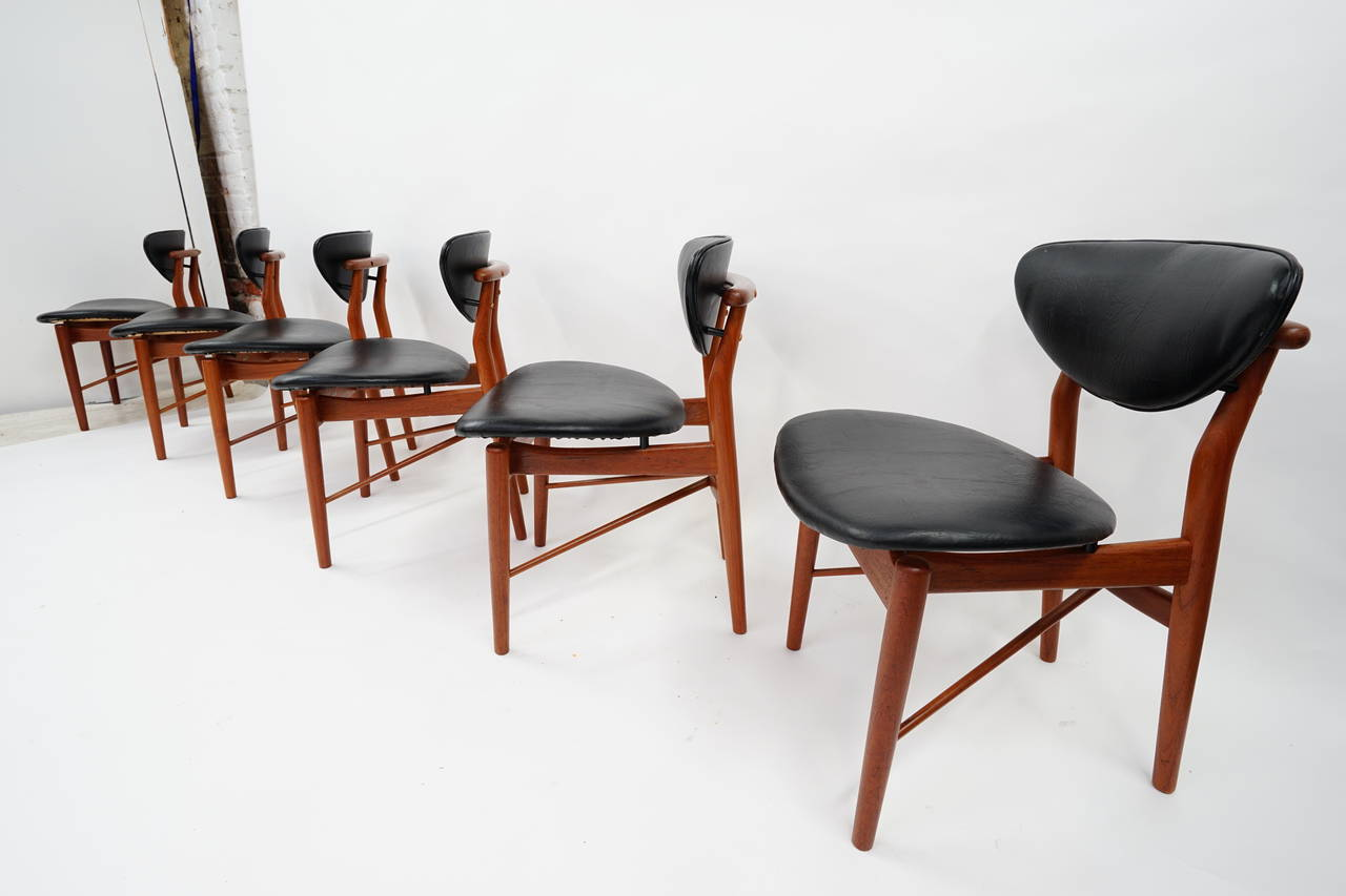 Six Early Nv 108 Finn Juhl Dining Chairs By Niels Vodder At 1stdibs