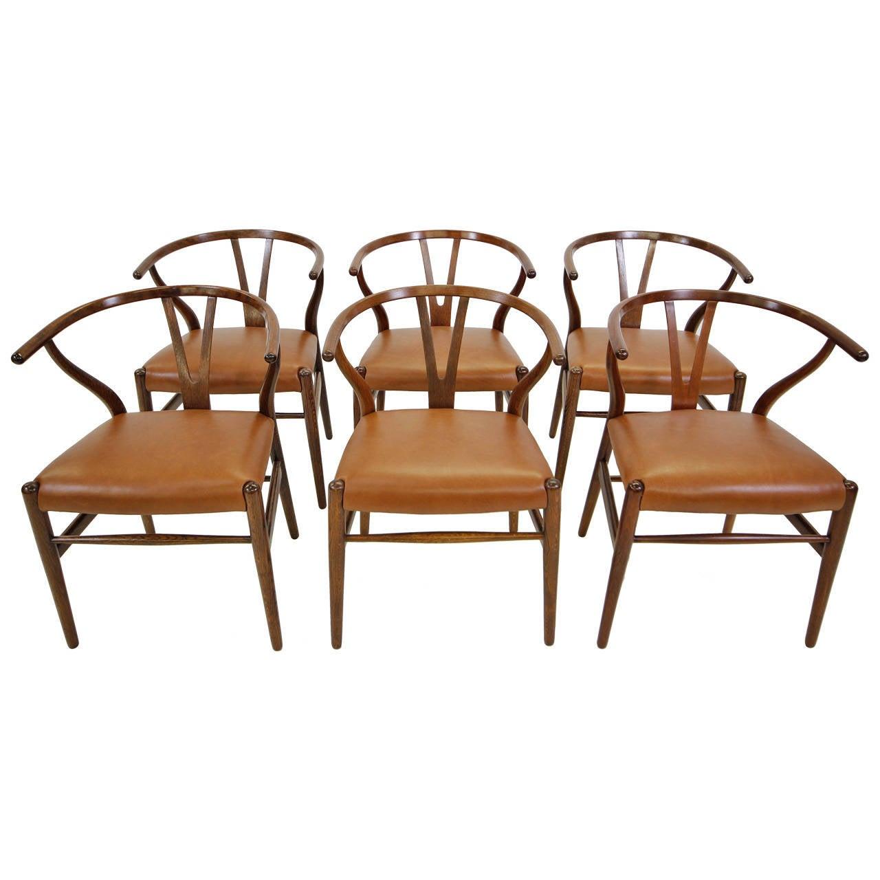 Original Set Of Hans Wegner Oak Wishbone Dining Chairs