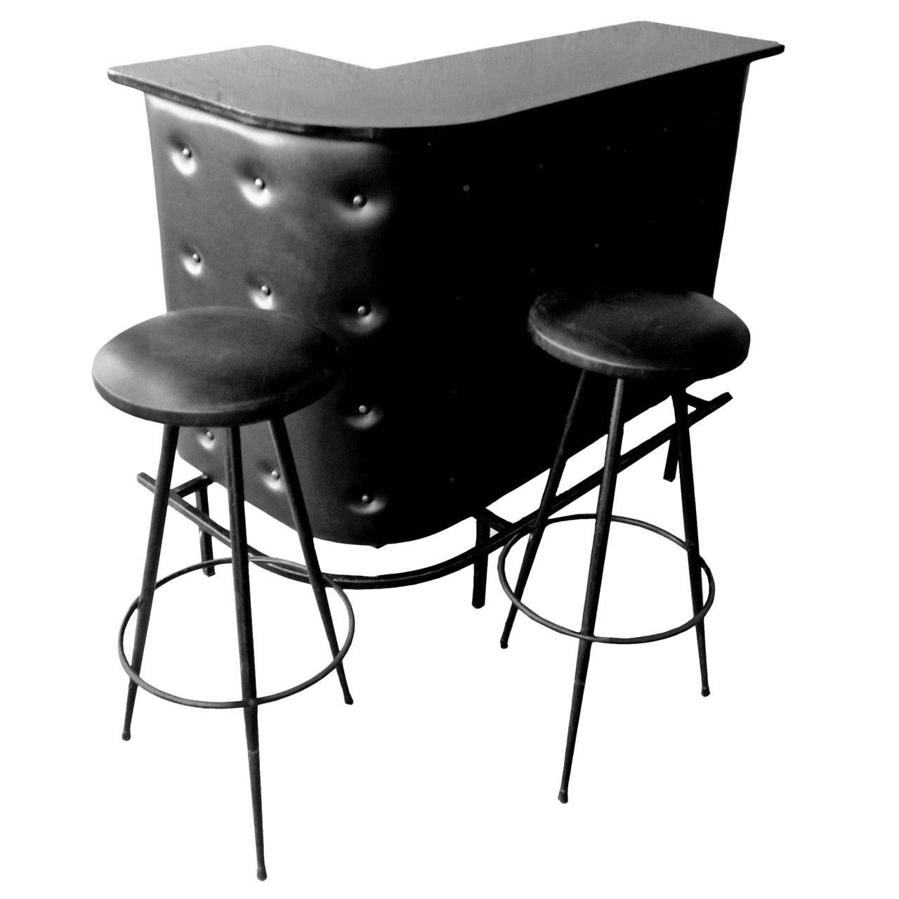 Jacques Adnet Style Bar with Two Stools
