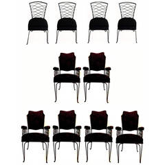 Rene Prou Set of Six Armchairs and Four Chairs