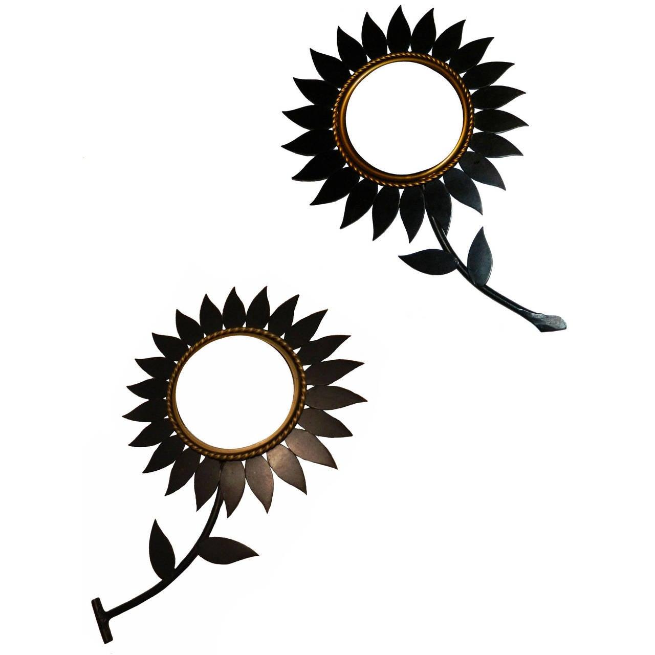 Pair of Signed Chaty Flower Sunburst Mirrors