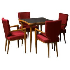 Set of Bridge table and four chairs by Jean Royere