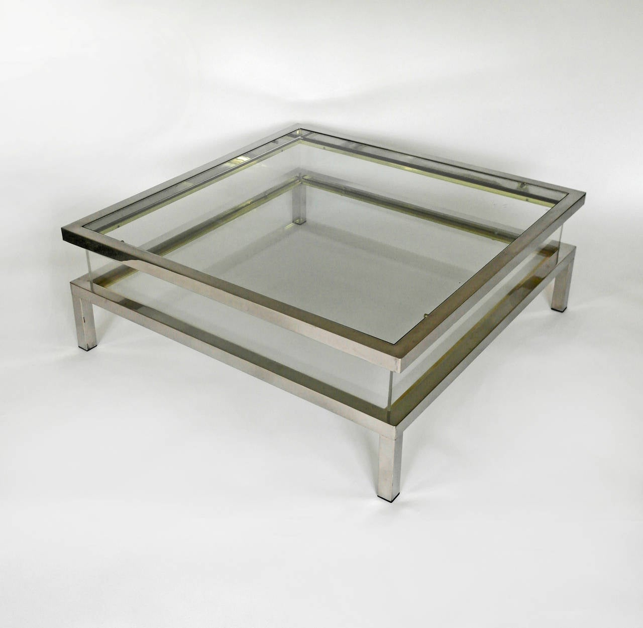 Mid Century Chrome And Perspex Sliding Box Coffee Table At 1stdibs