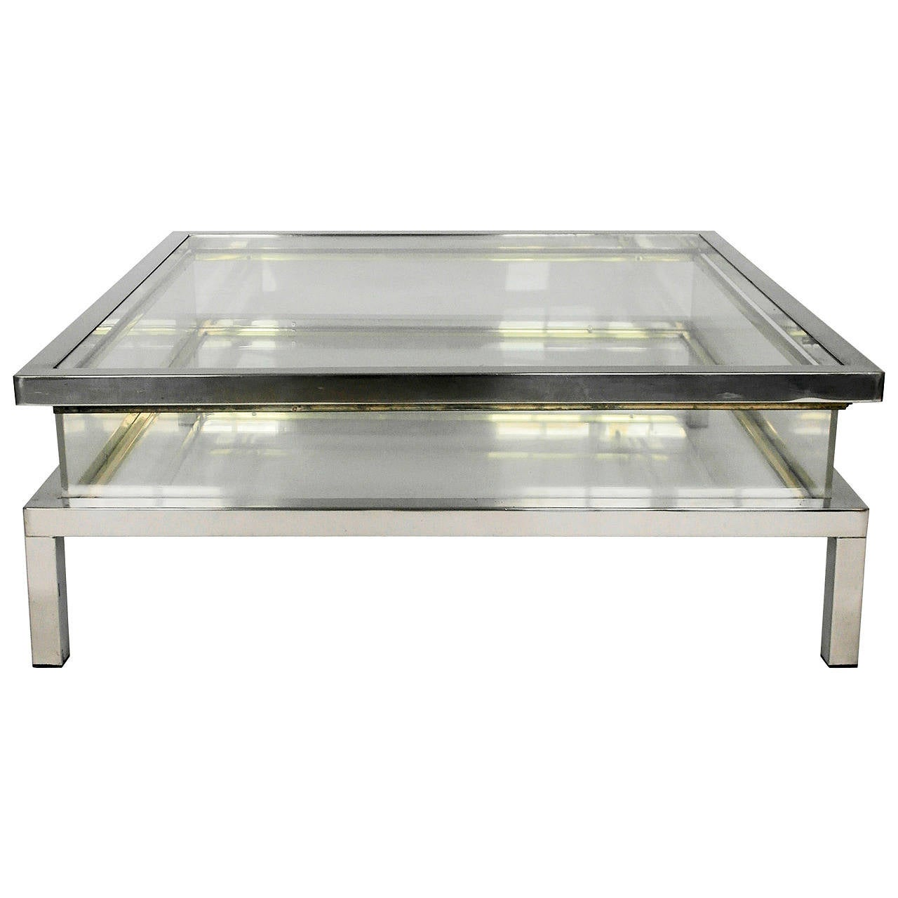 Mid Century Chrome And Perspex Sliding Box Coffee Table At