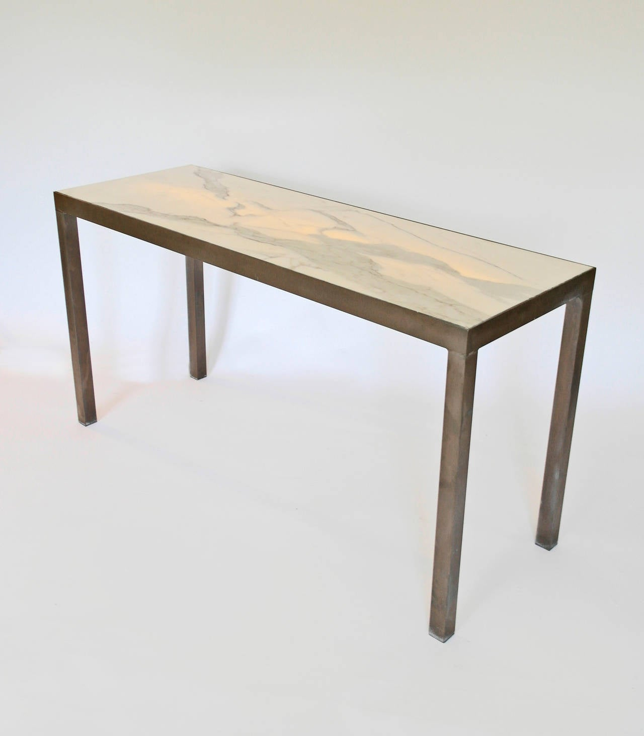 Illuminating Carrara Marble And Bronze Brutalist Console Hall Table 3