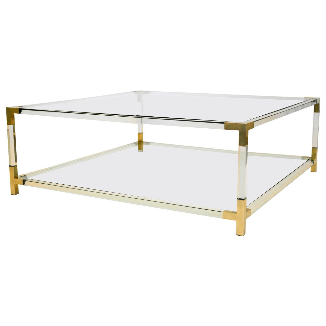 Brass Display Coffee Table: Maison Jansen Era Lucite And Brass Box Coffee Table At 1stdibs